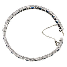 Art Deco bracelet: a Platinum Old European Cut Diamonds And Sapphire Tennis Bracelet sold by Doyle & Doyle vintage and antique jewelry boutique.