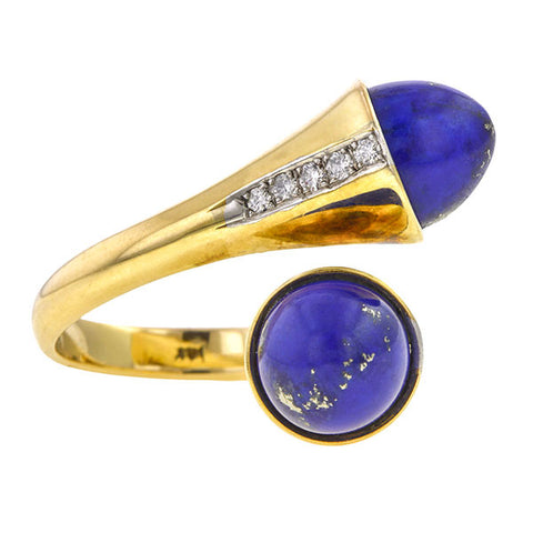 Vintage ring: a Yellow Gold Lapis and Diamond Bypass Ring sold by Doyle & Doyle vintage and antique jewelry boutique.