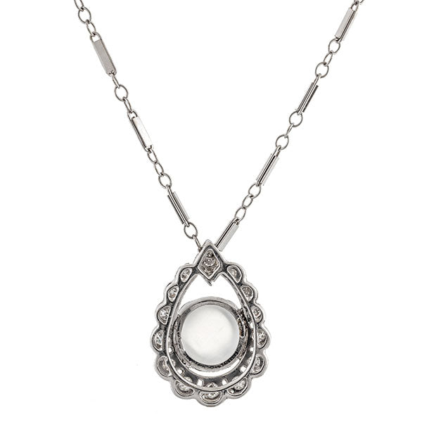 Victorian necklace: a White Gold Single Cut And Moonstone Tear Shaped Pendant sold by Doyle & Doyle vintage and antique jewelry boutique.