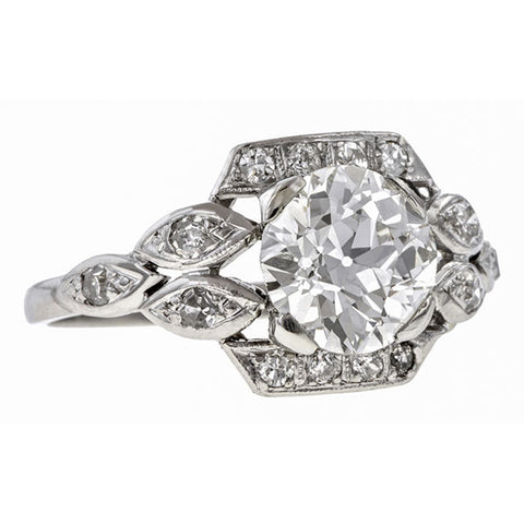Art Deco ring: a Platinum Old European And Single Cut Diamond Engagement Ring sold by Doyle & Doyle vintage and antique jewelry boutique.