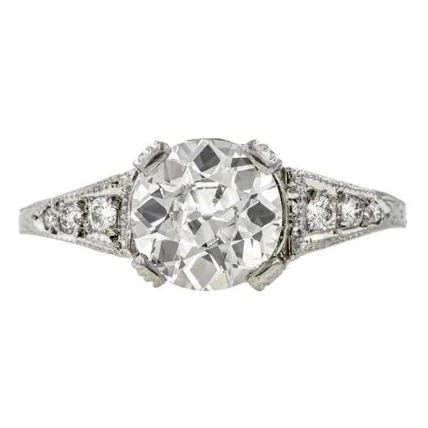 Vintage ring: a Platinum Old European Cut Diamond Engagement Ring sold by Doyle & Doyle vintage and antique jewelry boutique.