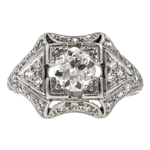Art Deco ring: a Platinum Round Brilliant And Single Cut Diamond Engagement Ring sold by Doyle & Doyle vintage and antique jewelry boutique.