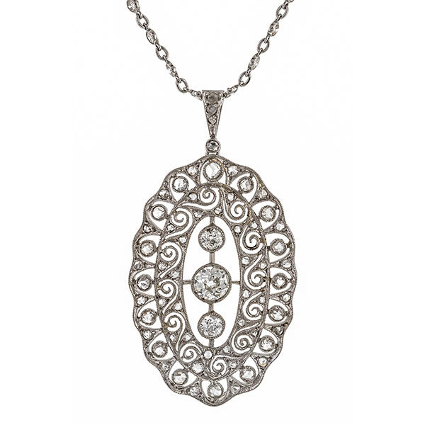 Art Deco necklace: a Platinum Old European And Rose Cut Diamond Filigree Pendant sold by Doyle & Doyle vintage and antique jewelry boutique.