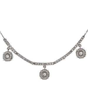 Vintage necklace: a White Gold Old European And Single Cut Necklace sold by Doyle & Doyle vintage and antique jewelry boutique.