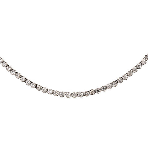 Estate Necklace: a White Gold Round Brilliant Cut Riviera Necklace sold by Doyle & Doyle vintage and antique jewelry boutique.