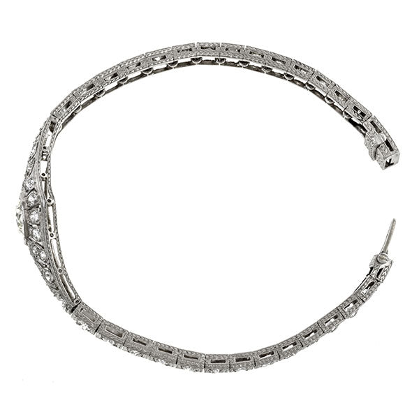 Art Deco bracelets: a Platinum Old European Cut Diamonds Bracelet sold by Doyle & Doyle vintage and antique jewelry boutique.