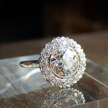 Vintage Diamond Cluster Engagement Ring, Old Euro 2.88ct.
