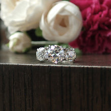 Vintage Three Stone Diamond Engagement Ring, Old Euro 2.38ct.