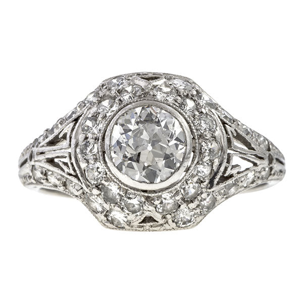 Art Deco ring: a Platinum Transition Round Brilliant Cut Diamond Engagement Ring sold by Doyle & Doyle vintage and antique jewelry boutique.