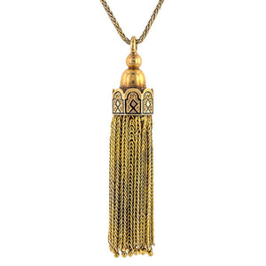 Antique Victorian necklace: a Yellow Gold Tassel Pendant sold by Doyle & Doyle vintage and antique jewelry boutique.