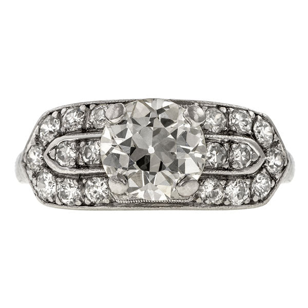 Art Deco ring: a Platinum Round Brilliant And Old European Cut Diamond Engagement Ring sold by Doyle & Doyle vintage and antique jewelry boutique.