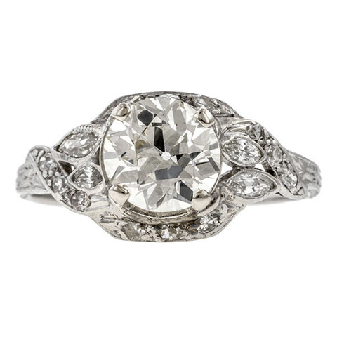 Art Deco ring: a Platinum Old European Cut 1.54ct. Diamond Engagement Ring sold by Doyle & Doyle vintage and antique jewelry boutique.