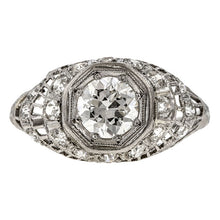 Art Deco Ring: a Platinum Old European Cut Diamond Engagement Ring sold by Doyle & Doyle vintage and antique jewelry boutique.