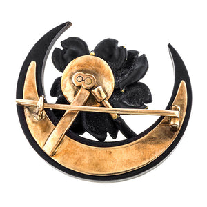 Antique Victorian brooches: a Rose Gold Black Enamel Moon and Flower Shaped With Pearl Brooch sold by Doyle & Doyle vintage and antique jewelry boutique.
