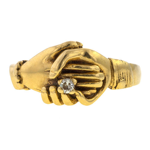 Vintage ring: a Yellow Gold Fede  Ring With Single Cut Diamond sold by Doyle & Doyle vintage and antique jewelry boutique.