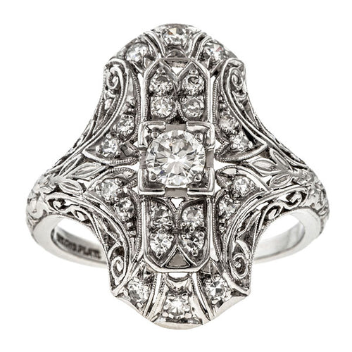 Art Deco ring: a Platinum Old European Cut Diamond Dinner Engagement Ring sold by Doyle & Doyle vintage and antique jewelry boutique.