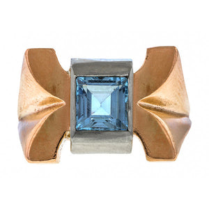 Retro ring: a Rose Gold And White Gold Square Step Aquamarine Ring sold by Doyle & Doyle vintage and antique jewelry boutique.