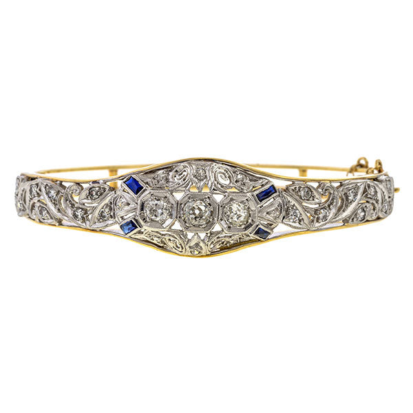 Art Deco bracelet: a Platinum And Yellow Gold Old European Cut And Sapphire Bracelet sold by Doyle & Doyle vintage and antique boutique.