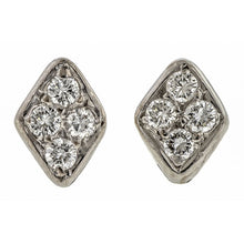 Vintage Diamond Lozenge Stud Earrings sold by Doyle & Doyle vintage and antique jewelry boutique.