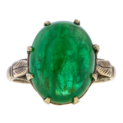 Gemstone ring: a Silver Cabochon Emerald ring sold by Doyle & Doyle vintage and antique jewelry boutique.