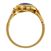 Art Nouveau ring: a Yellow Gold Black Opal Ring sold by Doyle & Doyle vintage and antique jewelry boutique.