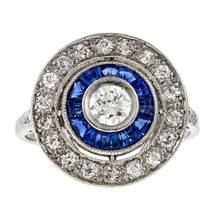 Art Deco Diamond & Sapphire Target Ring, sold by Doyle & Doyle an antique and vintage jewelry store.