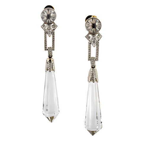 Art Deco earrings: a Platinum Rock Crystal And Diamond Drop Earrings sold by Doyle & Doyle vintage and antique jewelry boutique.