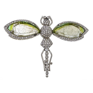 Diamond & Carved Green Stone Dragonfly Brooch