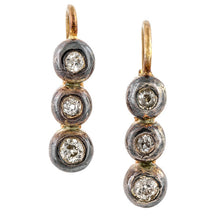 Antique earrings: a Silver-Topped Rose Gold Old European Cut Diamond Drop Earrings sold by Doyle & Doyle vintage and antique jewelry boutique.