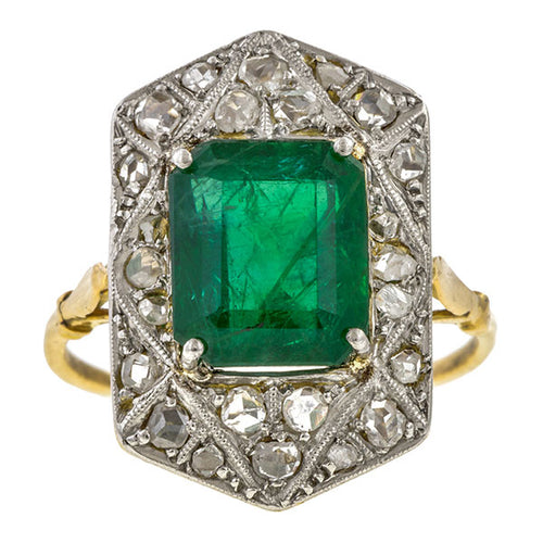 Antique ring: a Platinum Topped Yellow Gold Emerald & Diamond Ring sold by Doyle & Doyle vintage and antique jewelry boutique.