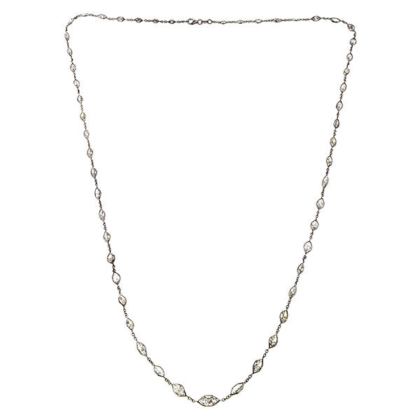 Diamond necklace : a White Gold Marquise Cut Diamond Necklace sold by Doyle & Doyle vintage and antique jewelry boutique.