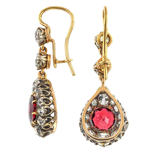 Victorian earrings: a Silver-Topped Yellow Gold Garnet And Diamond Drop Earrings sold by Doyle & Doyle vintage and antique jewelry boutique.