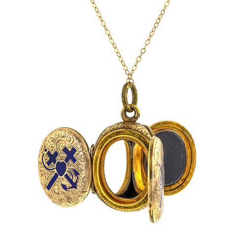 Victorian Three Compartment Hope Faith & Charity Locket, sold by Doyle & Doyle an antique and vintage jewelry store.
