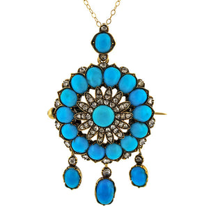 Victorian Turquoise & Diamond Pendant sold by Doyle & Doyle vintage and antique jewelry boutique.