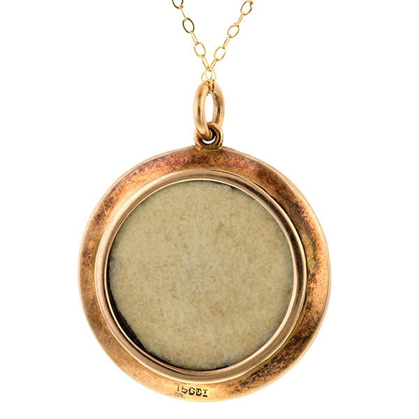 Edwardian Pearl & Guilloche Enamel Locket Back Pendant sold by Doyle & Doyle vintage and antique jewelry boutique.
