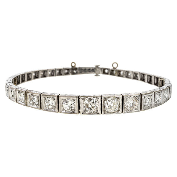 Art Deco bracelet: a Platinum Old European, Old Mine & Swiss Cut Diamond Tennis Bracelet sold by Doyle & Doyle vintage and antique jewelry boutique.