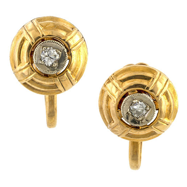 Vintage earrings: a White & Rose Gold Two Toned Diamond Earrings sold by Doyle & Doyle vintage and antique jewelry boutique.