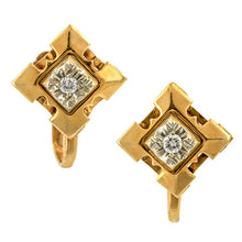 Vintage earrings: a Rose & White Gold Two Toned Diamond Earrings sold by Doyle & Doyle vintage and antique jewelry boutique.