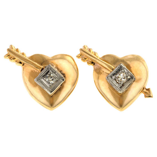 Vintage Two Toned Diamond Heart Earrings, Sold by Doyle & Doyle an antique and vintage jewelry boutique.
