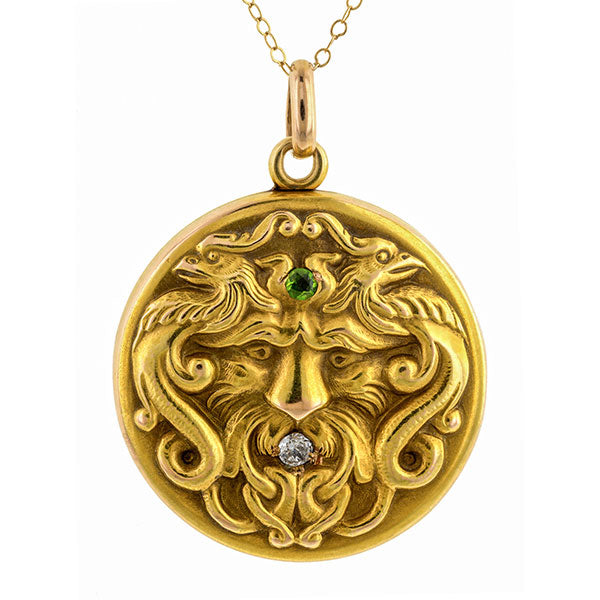 Antique Diamond & Demantoid Locket sold by Doyle & Doyle vintage and antique jewelry boutique.