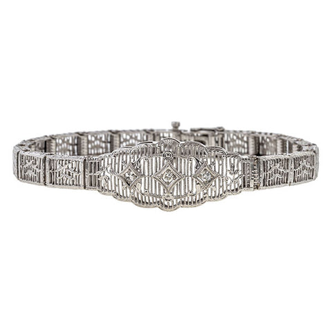 Vintage bracelet: a White Gold Filigree Diamond Bracelet sold by Doyle & Doyle vintage and antique jewelry boutique.