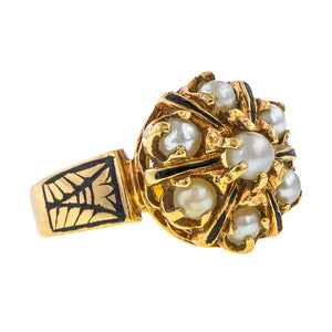 Vintage ring: a Yellow Gold Pearl Cluster Enamel Ring sold by Doyle & Doyle vintage and antique jewelry boutique.