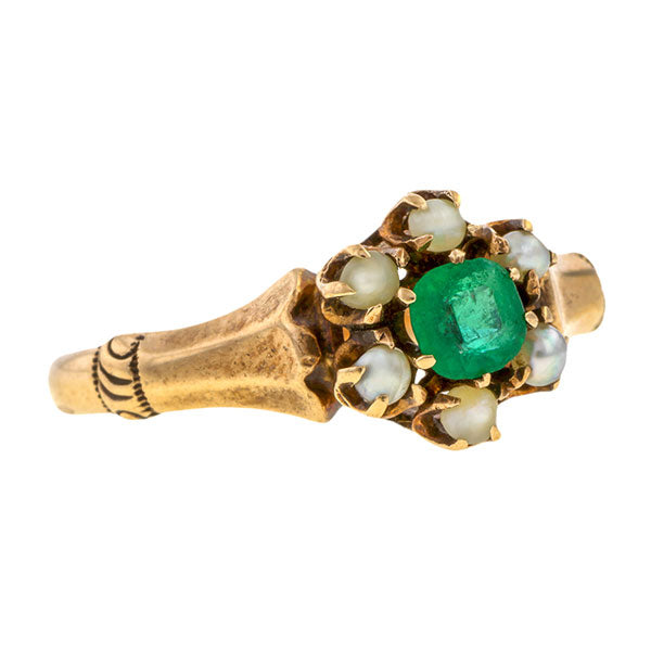 Victorian ring: a Rose Gold Emerald & Pearl Ring sold by Doyle & Doyle vintage and antique jewelry boutique.