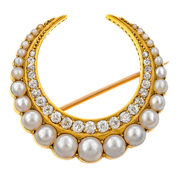 Antique Crescent Pin, a brooch wet with Pearls & Diamonds, sold by Doyle & Doyle an antique & vintage jewelry boutique.
