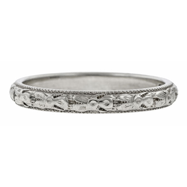 Vintage Patterned Wedding Band Ring, White Gold sold by Doyle & Doyle vintage and antique jewelry boutique.