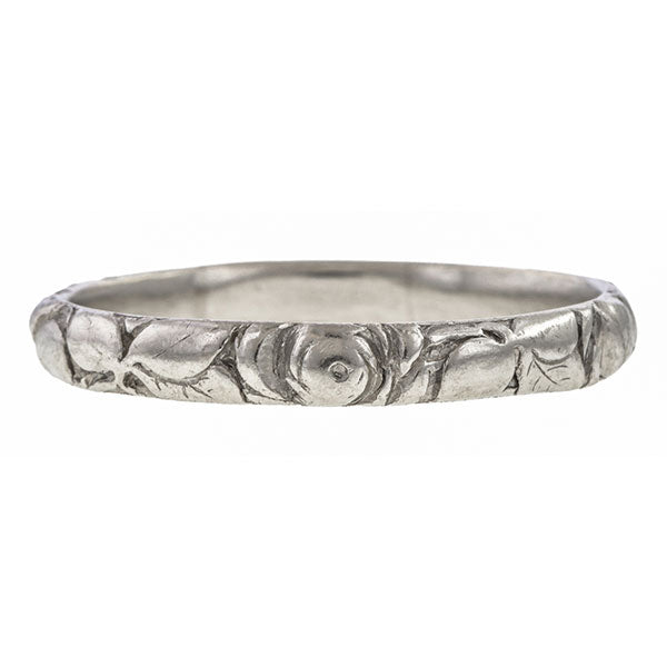 Vintage Floral Patterned Wedding Band Ring, Platinum sold by Doyle & Doyle vintage and antique jewelry boutique.