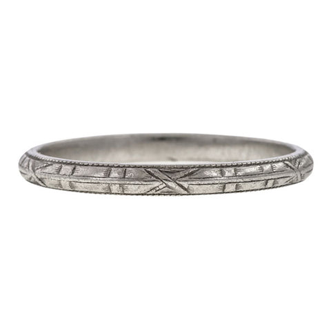 Vintage Patterned Wedding Band Ring, Platinum sold by Doyle & Doyle vintage and antique jewelry boutique.