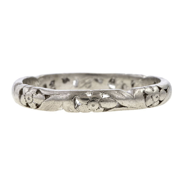 Vintage Openwork Patterned Wedding Band Ring, Platinum sold by Doyle & Doyle vintage and antique jewelry boutique.