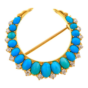 Antique Crescent Pin, a brooch set with Turquoise & Diamonds, sold by Doyle & Doyle an antique & vintage jewelry boutique.