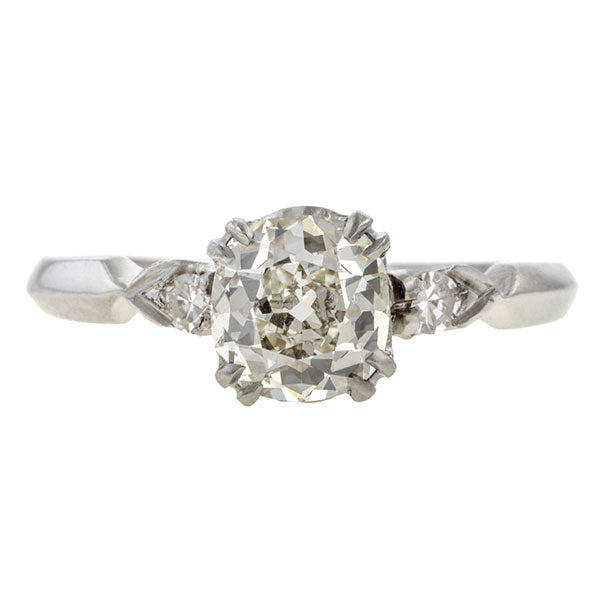 Vintage ring: a Platinum Engagement Ring, Cushion 1.05ct. sold by Doyle & Doyle vintage and antique jewelry boutique.
